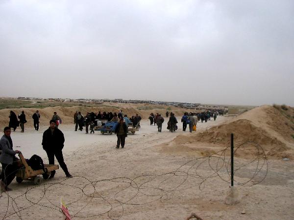 The view toward from Iraq from the mud hut passport office.